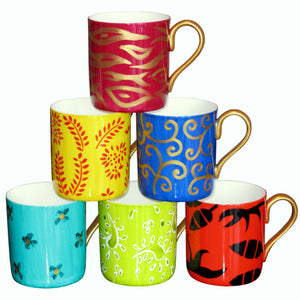 DIVERSITY II - Set of 6 Mugs in Hand Painted Bone China, gift boxed