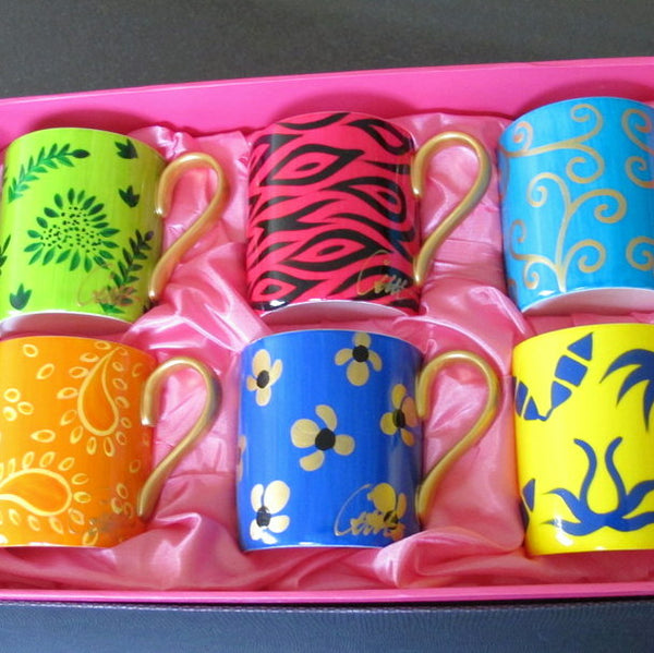 HAPPY - Set of Hand Painted Bone China Mugs, gift boxed