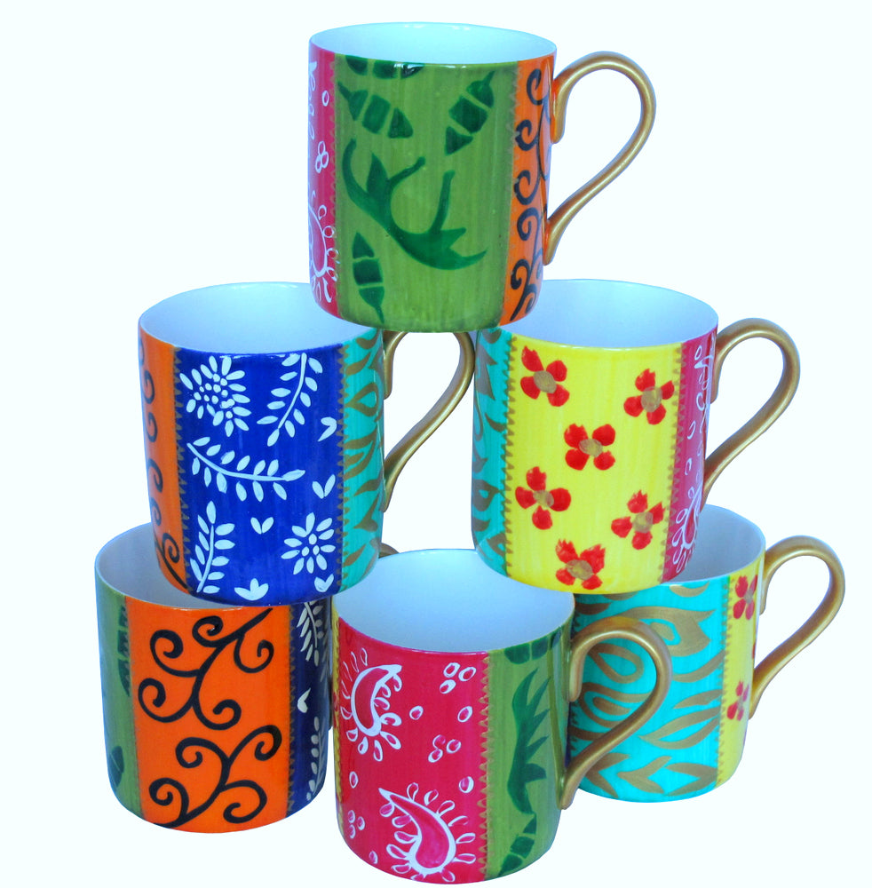 DIVERSITY STRIPE - Set of 6 Mugs in Hand Painted Bone China, gift boxed
