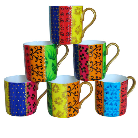 RAYURES - Set of six Hand Painted Bone China Mugs, gift boxed