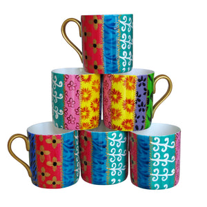 TSARINA - Set of Six Hand Painted Bone China Mugs, gift boxed