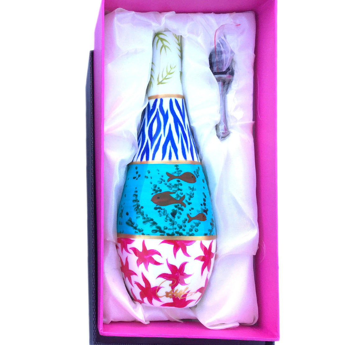 SEA Painted Olive Oil or Vinegar Bottle, gift boxed