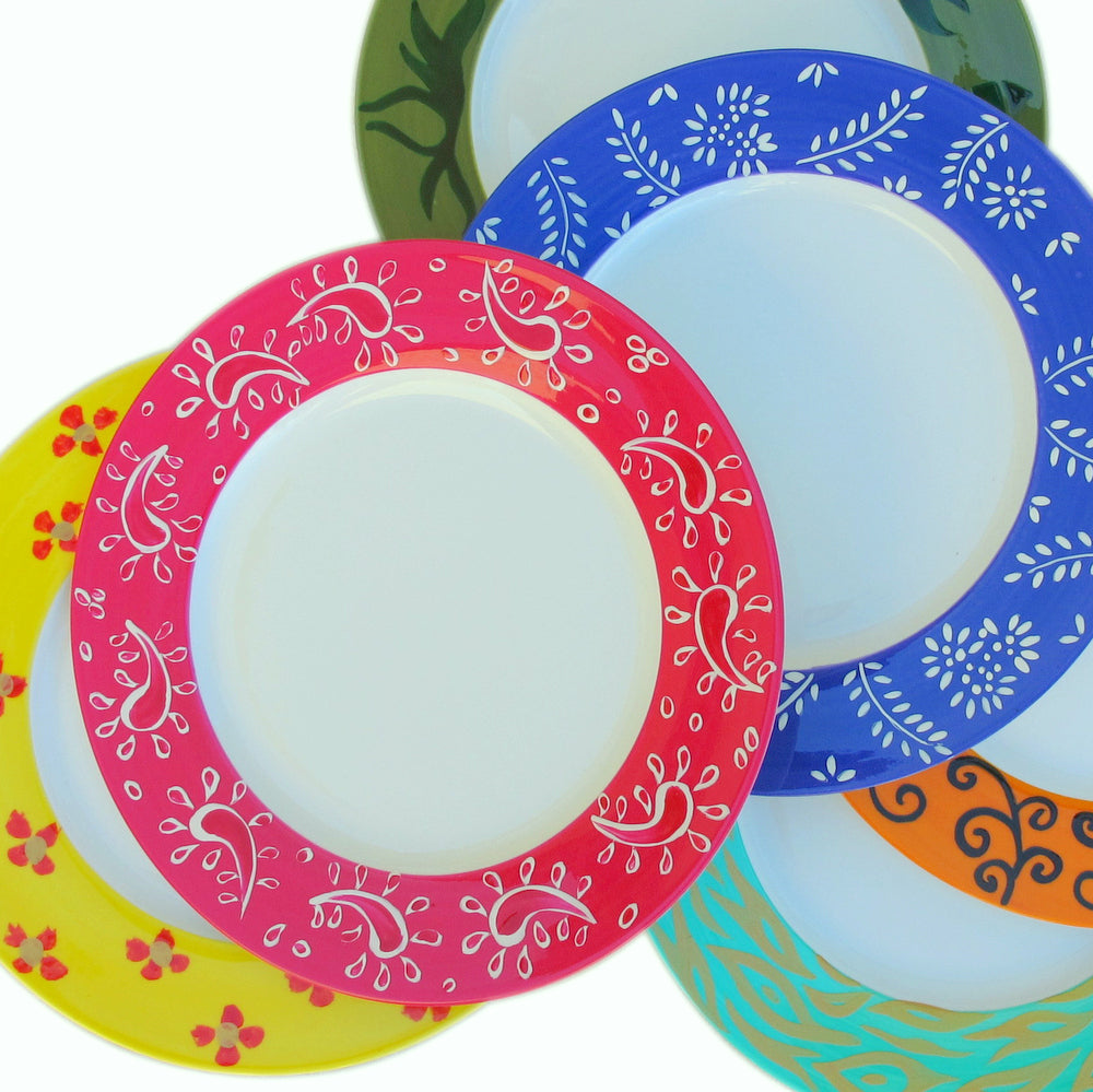 DIVERSITY I Hand Painted Bone China Plates (6) gift boxed