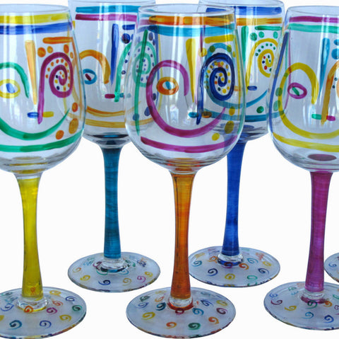 Crazy Face Painted White Wine Glasses - set of six, gift boxed