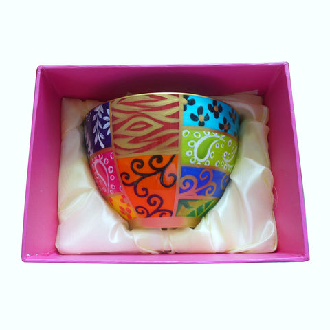 SQUARES - hand painted decorative bowl in bone china