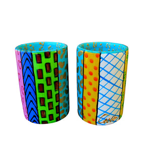 COMMOTION  - Pair of Hand Painted Pillar Tea Light Holders, gift boxed