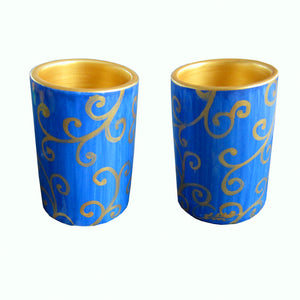 LAPIZ SCROLL - Pair of Hand Painted Pillar Tea Light Holders, Gift Boxed