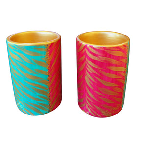 PINK EMERALD ZEBRA - Pair of Hand Painted Porcelain Pillar Tea Light Holders, gift boxed