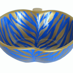 LAPIS ZEBRA  Hand Painted Bone China Dish