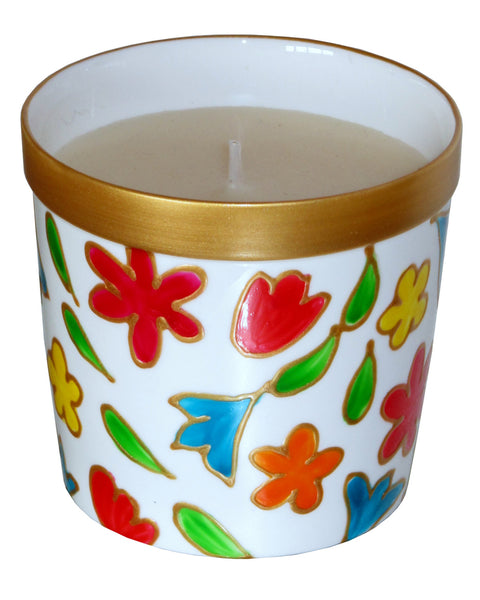 FLOWERS Luxury Scented Candle in Hand Painted Bone China Porcelain Candle Holder