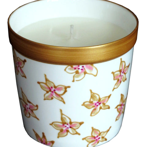STARFLOWER Luxury Scented Candle in hand painted porcelain candle holder