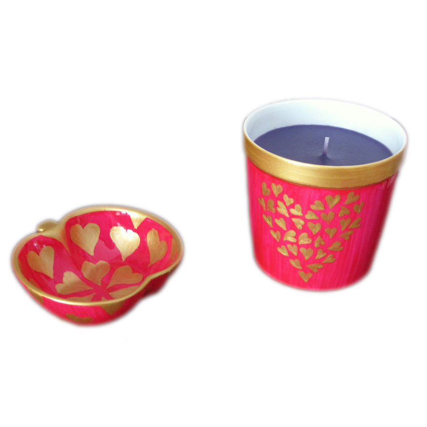 GOLD HEARTS Luxury Scented Candle with bone china apple dish