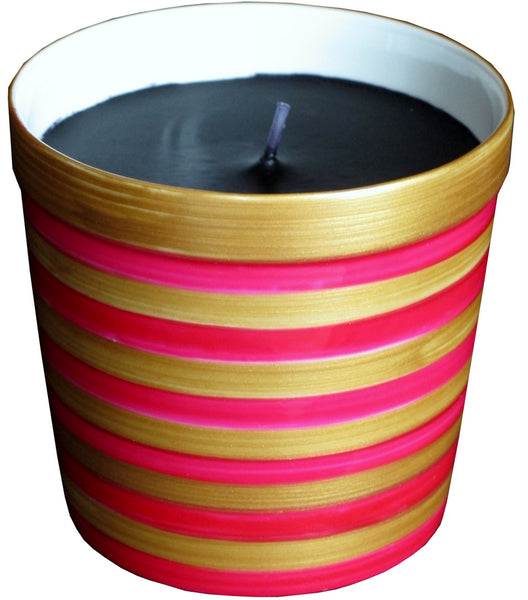 PINK STRIPES Luxury Scented Candle in painted bone china jar