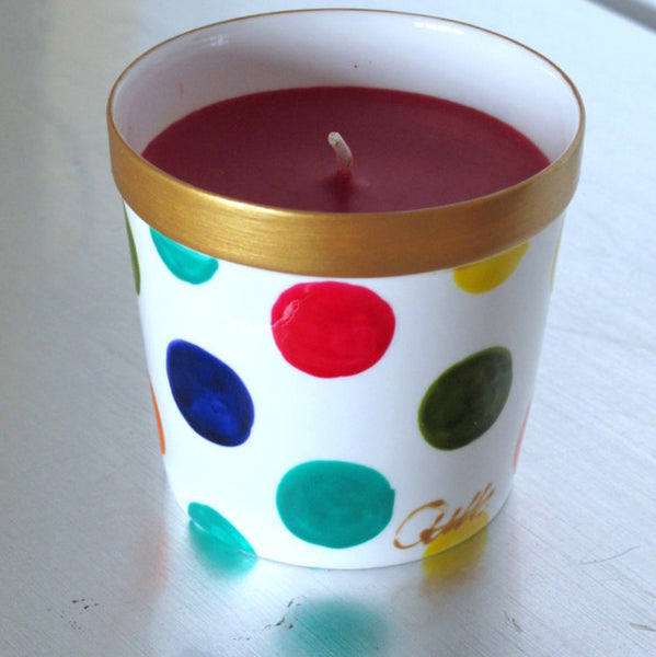 SPOTS Luxury Scented Candle in Hand Painted Bone China, gift boxed