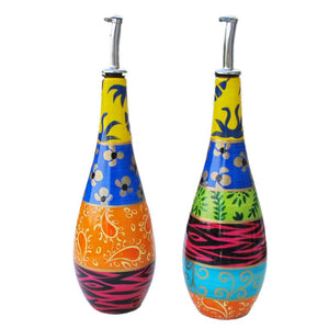 HAPPY Duet - a pair of Hand Painted Olive Oil and Vinegar Bottles, gift boxed