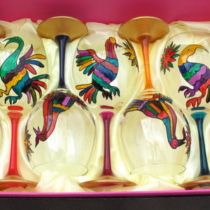 BIRDS -  Hand Painted Crystal Wine Glasses set of Six