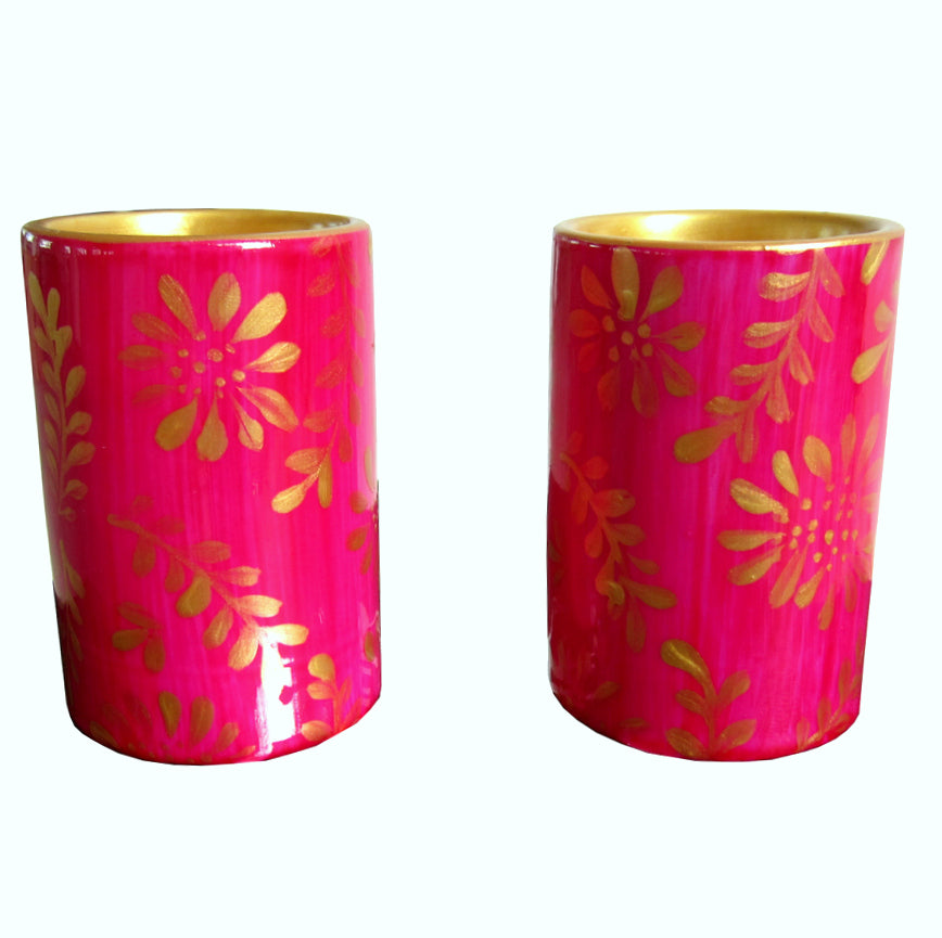 PINGO - Pair of Hand Painted Porcelain Pillar Tea Light Holders, gift boxed