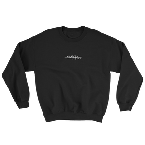 front of Black SWSHR crewneck featuring SWSHR font