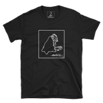 Black SWSHR T-Shirt featuring a contrast framed white badger print on front
