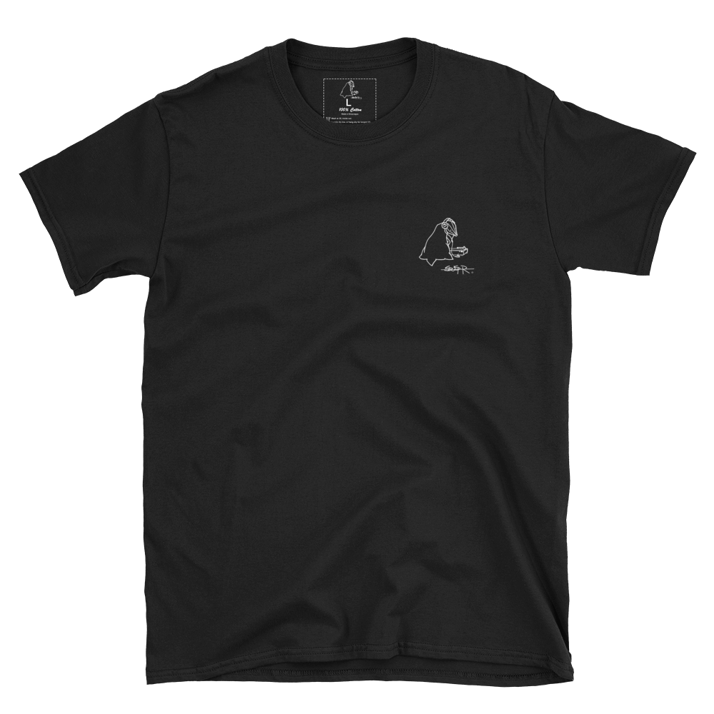Black SWSHR T-Shirt featuring a small white contrast badger logo on the left chest area