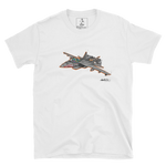 White SWSHR T-Shirt featuring a bright illustration of a colourful T Rex piloting an F18 Jet