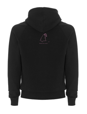 Black SWSHR hoodie with a magenta SWSHR badger print on back