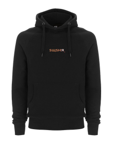 Black SWSHR hoodie with an orange and white SWSHR font print on front