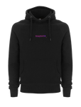 Black SWSHR hoodie with a magenta and purple SWSHR font print on front