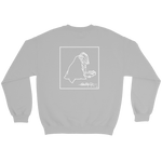Back of grey SWSHR crewneck featuring framed badger logo