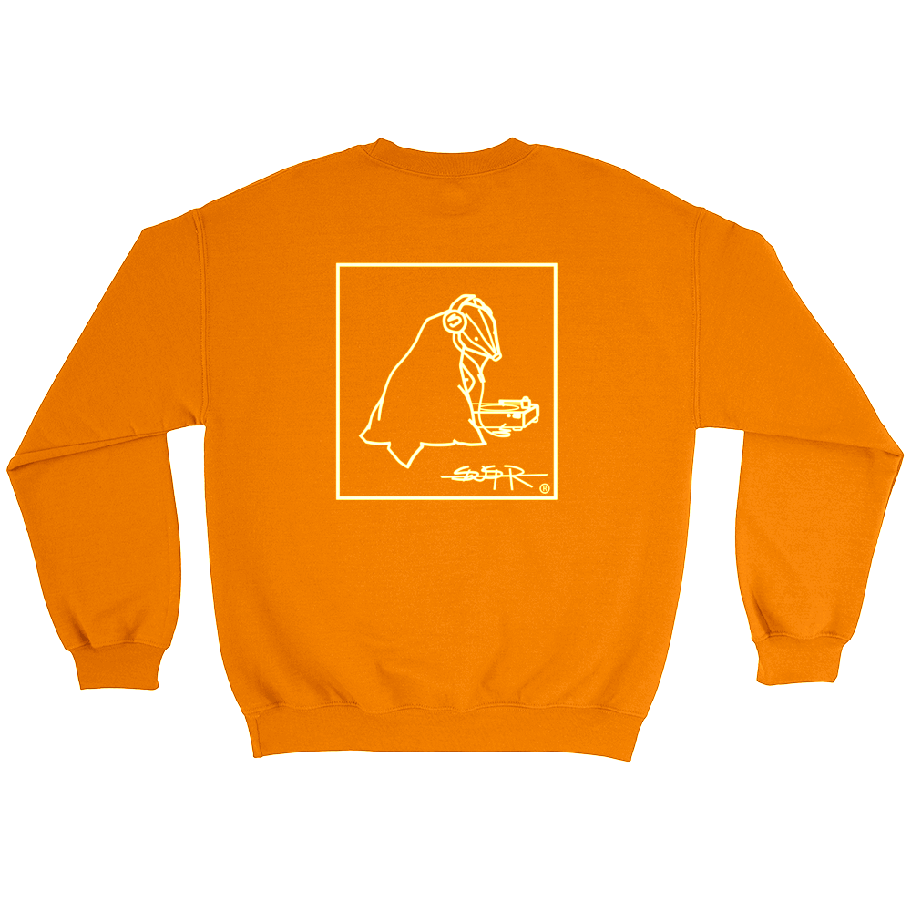 Back of orange SWSHR double print crewneck featuring framed white badger