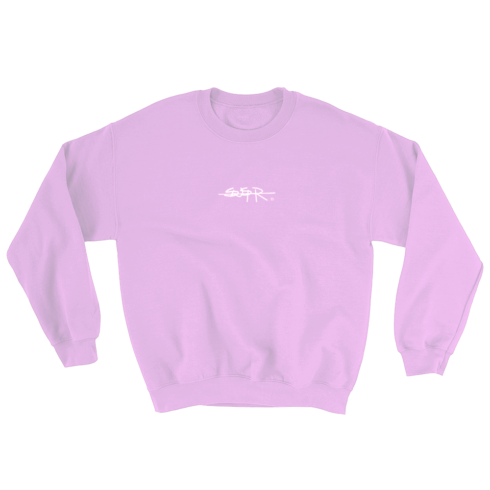 Front of pink SWSHR crewneck featuring the SWSHR font