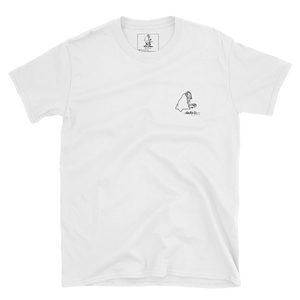 White SWSHR T-Shirt featuring a small black contrast badger logo on the left chest area