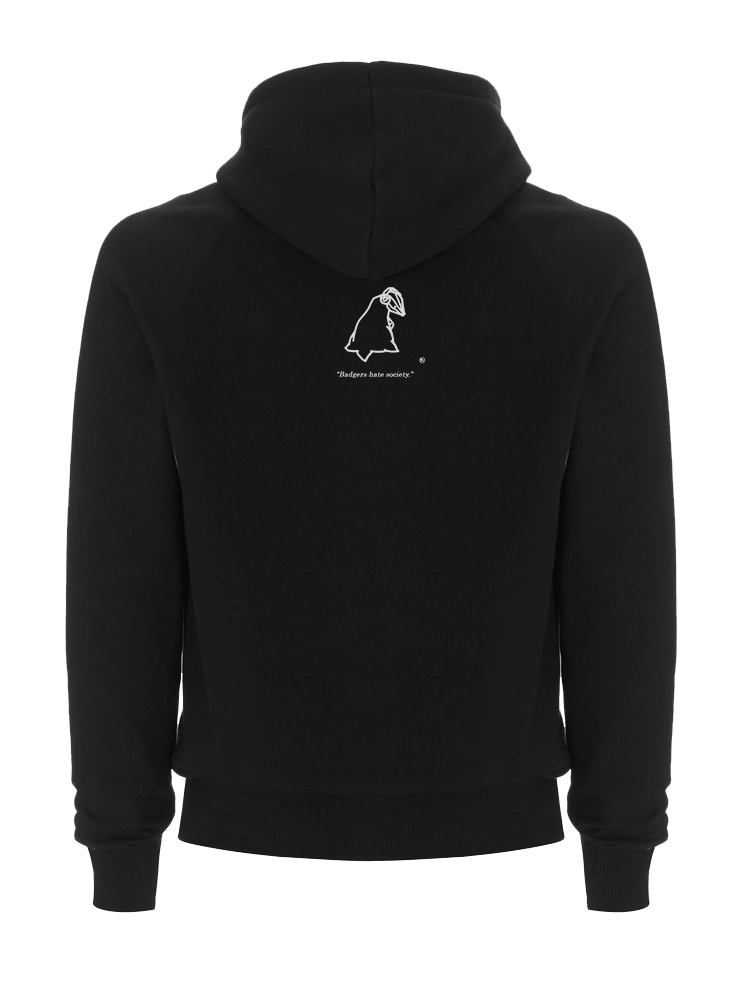 Black SWSHR hoodie with a white SWSHR badger print on back