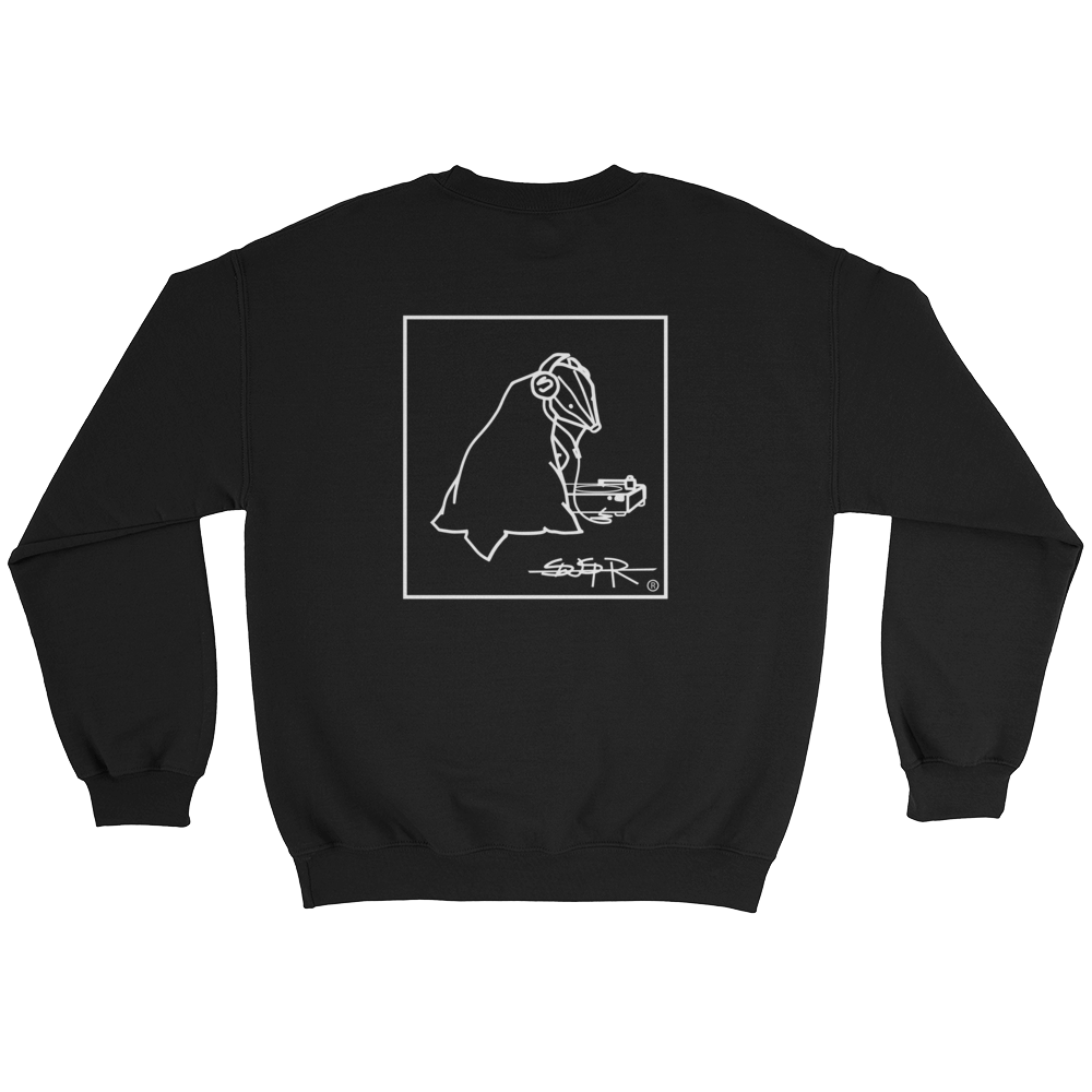 Back of black SWSHR crewneck featuring framed badger logo