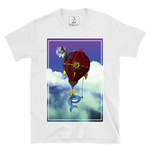 White SWSHR T-shirt featuring a colourful illustration of a Whale escaping via steam punk balloon