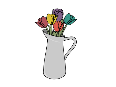 Spring Pitcher with Tulips
