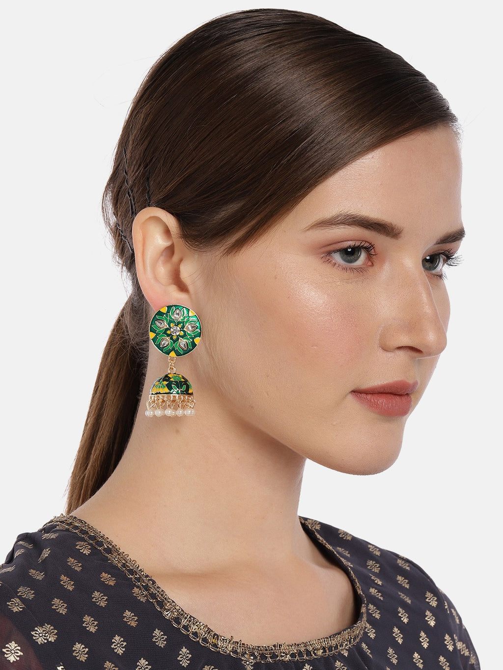 GREEN & YELLOW DOME SHAPED ENAMELLED JHUMKAS - chique boutique