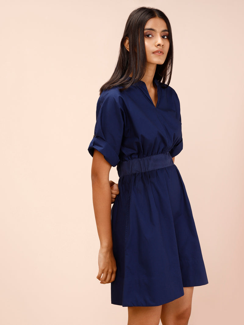 NAVY BLUE SOLID FIT AND FLARE DRESS - chique boutique