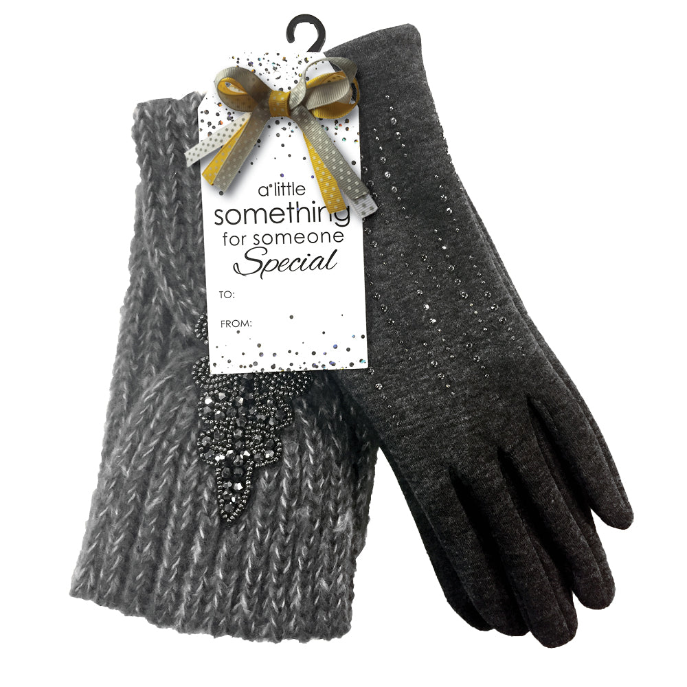 CHARCOAL GLITTER GLOVES & HEADBAND SET