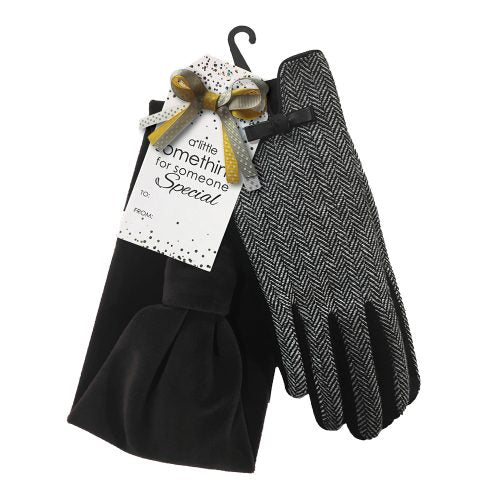 HERRINGBONE GLOVES & HEADBAND GIFT SET