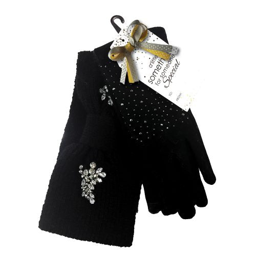 BLACK GLITTER GLOVES & HEADBAND GIFT SET