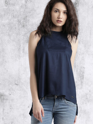 NAVY BLUE SOLID STYLED BACK TOP