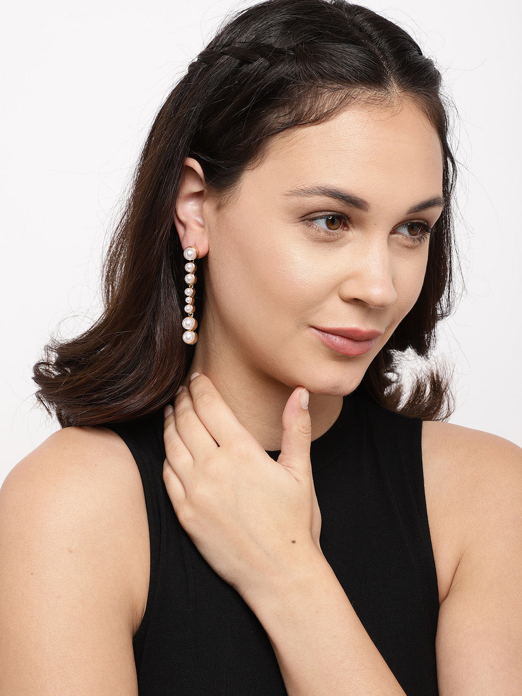 GOLD-TONED CONTEMPORARY DROP EARRINGS