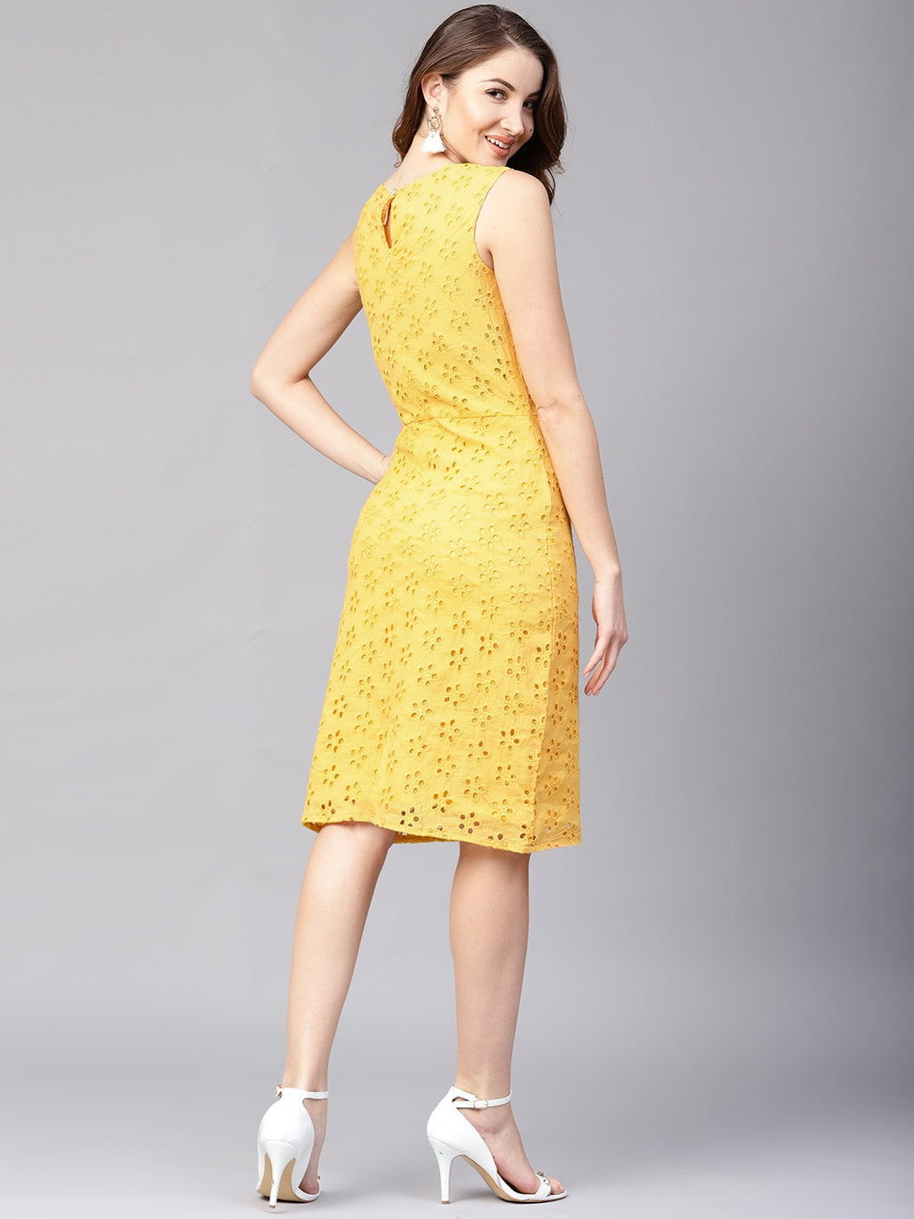 Women Yellow Schiffli Embroidered Sheath Dress