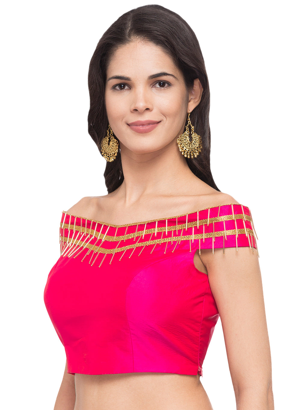 'JUST B' PINK EBMELLISHED SAREE BLOUSE Pink