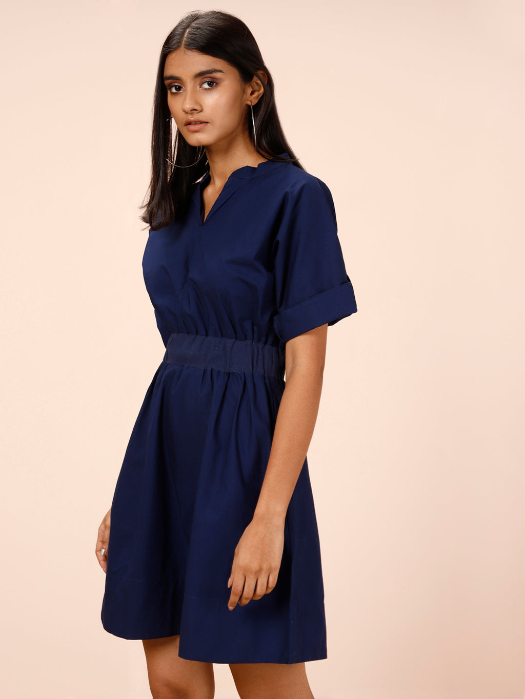 NAVY BLUE SOLID FIT AND FLARE DRESS