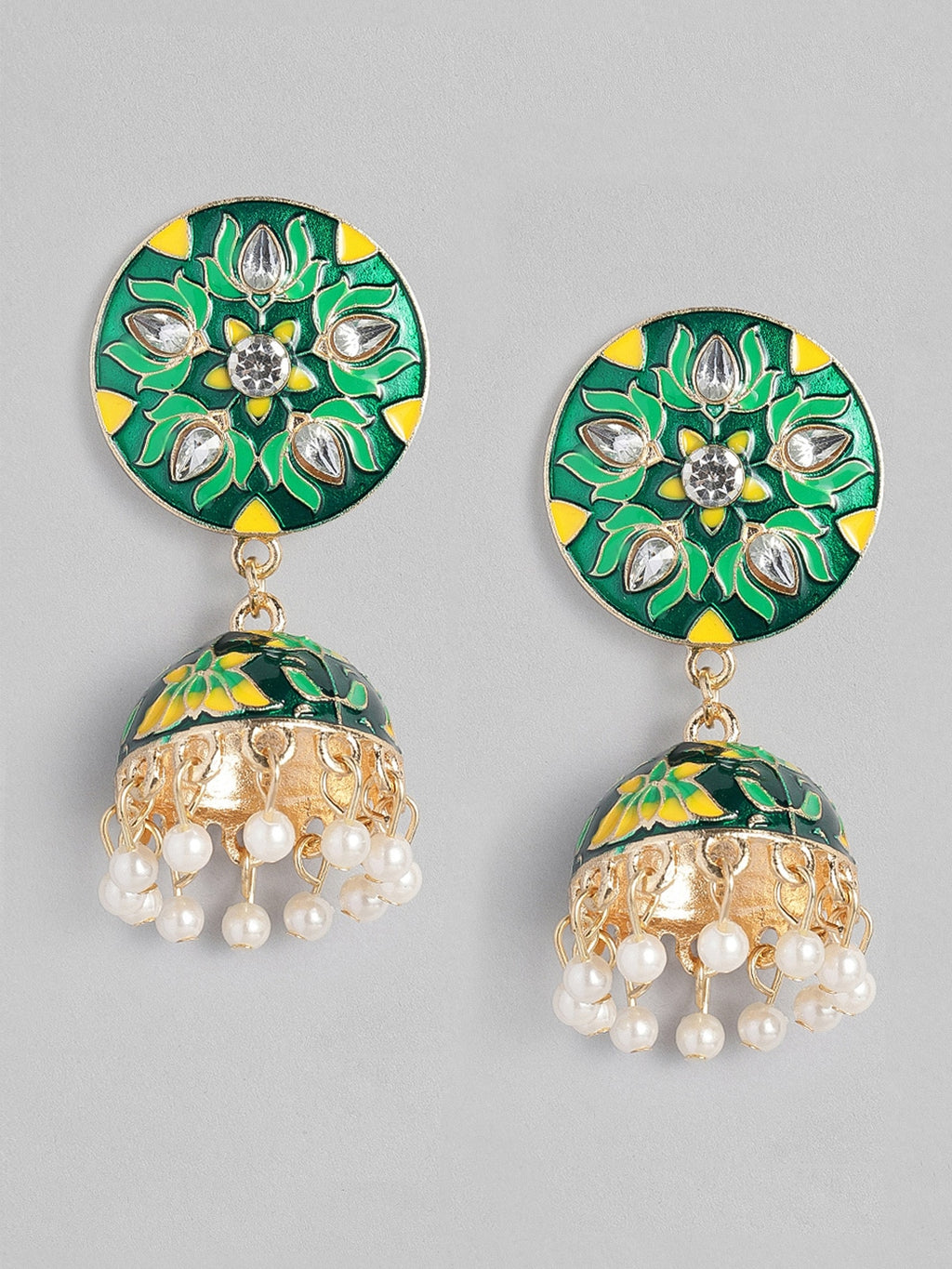 GREEN & YELLOW DOME SHAPED ENAMELLED JHUMKAS
