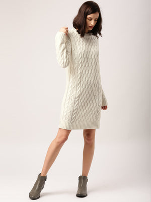 OFF-WHITE SELF DESIGN LONGLINE SWEATER DRESS
