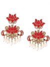 LOTUS SHAPED GOLD PLATED MAROON DROP EARRINGS