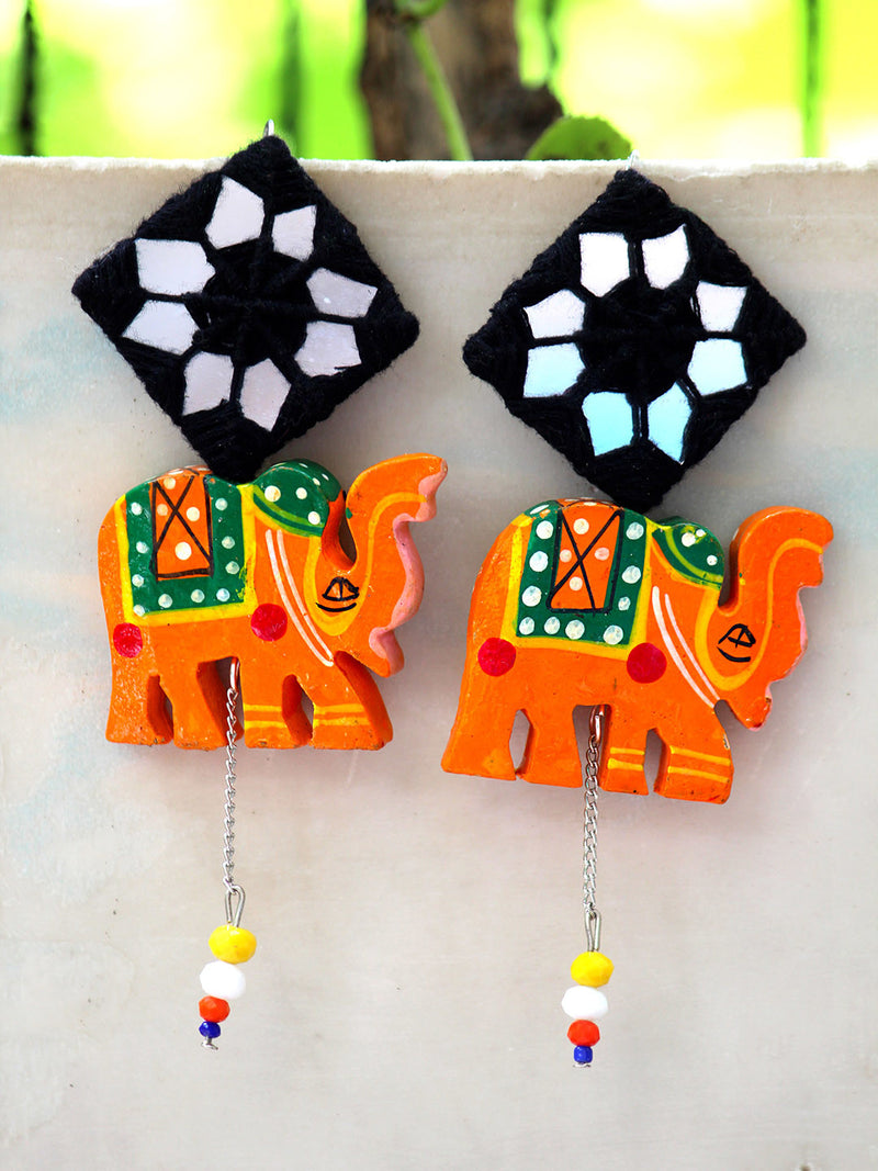 ORANGE TRIBAL ELEPHANT HAND-PAINTED EARRINGS